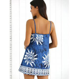 Tribal Print Tie-Dyed Summer Dress - CADETBLUE L