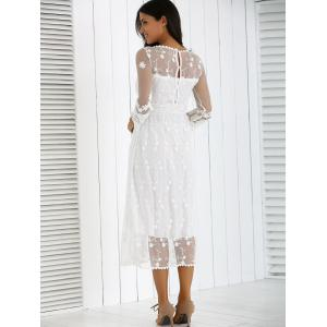 Guipure Mesh Party Laciness Dress - WHITE S