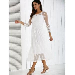 Guipure Mesh Laciness Dress - WHITE XL