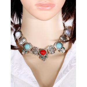 Faux Rammel Embossed Floral Choker Necklace -