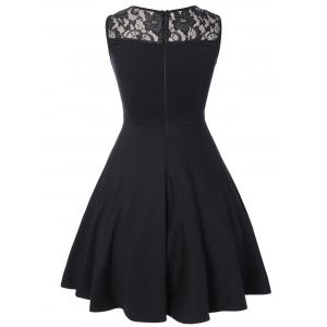 Sleeveless Lace A Line Party Skater Dress - BLACK XL