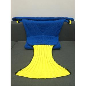 Super Soft Crocheted Knitted Fish Tail Shape Blanket - BLUE L