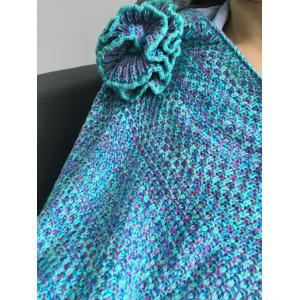 Warmth Flowers Decor Crocheted Knitted Mermaid Tail Shape Blanket - LAKE BLUE