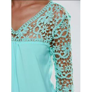Lace Splicing 3/4 Sleeve V Neck Blouse -