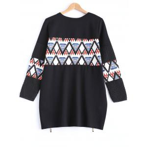 Geometric Print Zipper Design Sweatshirt -