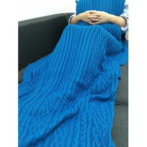 Super Soft Tressé design Crochet Knitting Blanket + Taie - Bleu