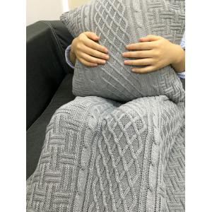 Confortable Stripe design Knitting rectangulaire Blanket + Place Taie - Gris