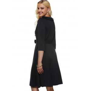 Vintage Half Sleeves Belted Buttoned Swing Dress - BLACK L