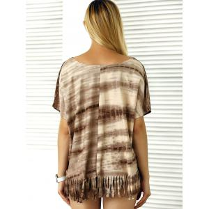 Batwing Sleeve Tie-Dyed Tassels T-Shirt -