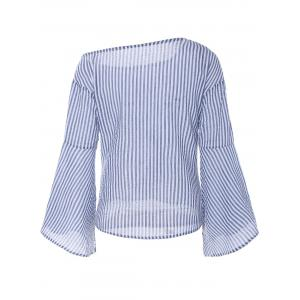 Asymmetrical Bell Sleeve Striped Blouse -