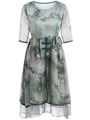 Outfit Elegant Floral Print Two-Layered Belted Full Dress GREEN 2XL