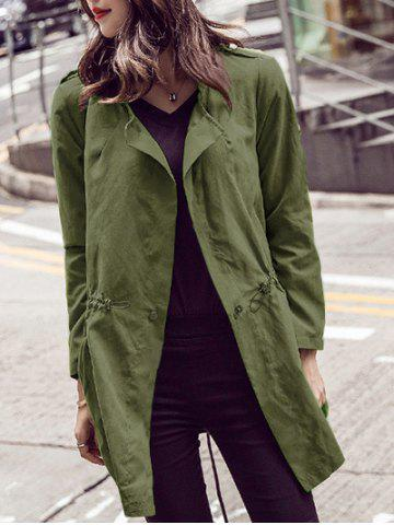 Long Sleeve Pure Color Trench Coat - Army Green - M
