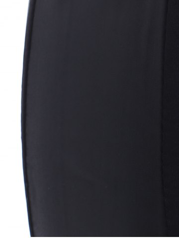 Unique Elastic Waist Leather Patchwork Leggings - ONE SIZE BLACK Mobile