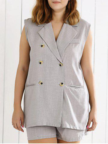 New Double Breasted Sleeveless Vest and Shorts Suit - XL GRAY Mobile