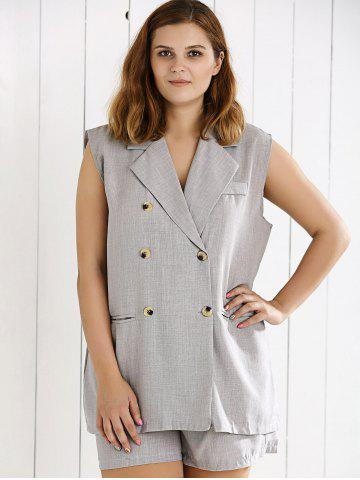 Trendy Double Breasted Sleeveless Vest and Shorts Suit - XL GRAY Mobile