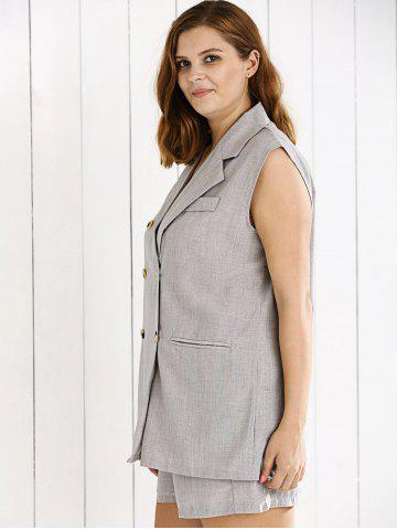 Buy Double Breasted Sleeveless Vest and Shorts Suit - XL GRAY Mobile