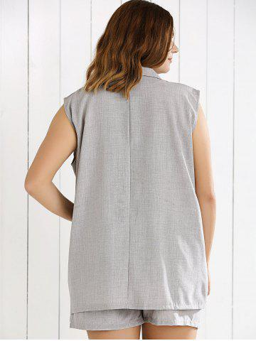 Outfit Double Breasted Sleeveless Vest and Shorts Suit - XL GRAY Mobile
