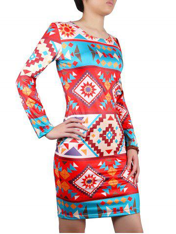 Geometric Print Colored Dress - RED XL