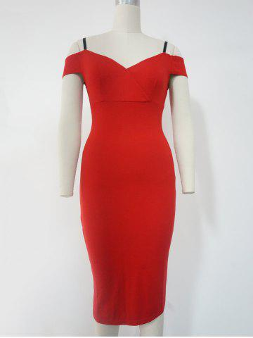 Unique Spaghetti Strap Cold Shoulder Bodycon Dress RED M
