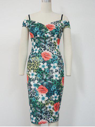 Trendy Floral Cold Shoulder Pencil Dress