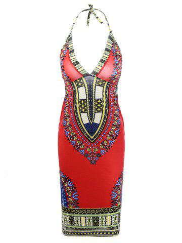 Ethnic Style Halter Backless Indian Dress - Red - S
