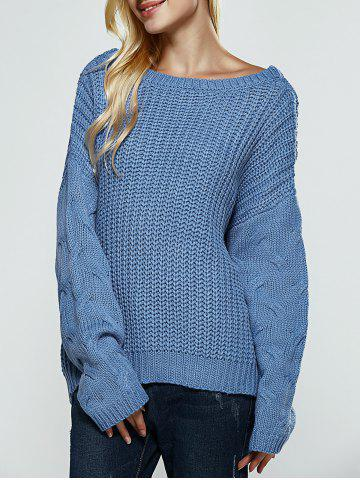 Textured Slit Open Back Sweater - Water Blue - One Size