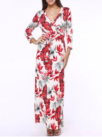 Buy Plunge Neck Maxi Floral Print Long Sleeve Wrap Dress RED 5XL