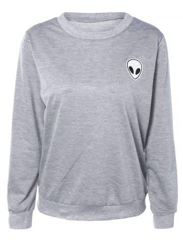 Shop Skull Print Long Sleeve Sweatshirt LIGHT GRAY L