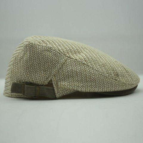 Fancy Stylish Solid Color Ramie Cotton Fabric Beret For Men - LIGHT KHAKI  Mobile