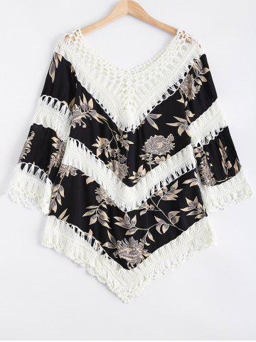Chic Hollow Out Floral Print Splicing Cover-Up