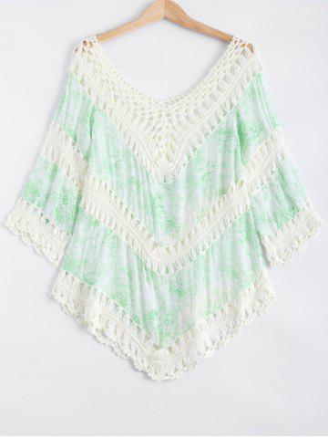 Best Crochet Floral Print Spliced Cut Out Cover-Up
