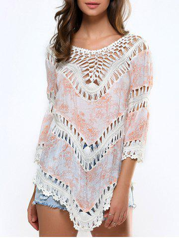 Chic Floral Print Cut Out Crochet Asymmetrical Cover-Up