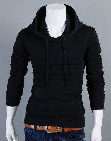 Unique Slimming Drawstring Hooded Front Pocket Solid Color Long Sleeves Men's Thin Hoodie