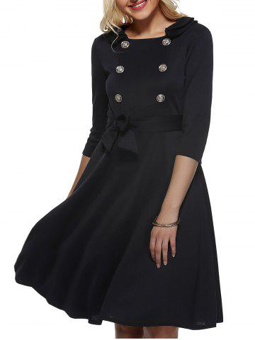 Store Vintage Half Sleeves Belted Buttoned Swing Dress BLACK L