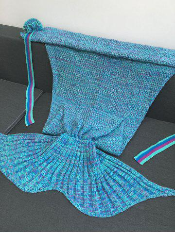 New Warmth Flowers Decor Crocheted Knitted Mermaid Tail Shape Blanket - LAKE BLUE  Mobile