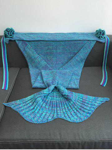 Outfits Warmth Flowers Decor Crocheted Knitted Mermaid Tail Shape Blanket - LAKE BLUE  Mobile