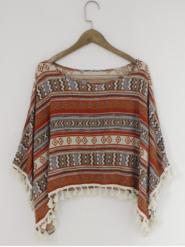 Chic Ethnic Style Loose-Fitting Printing Blouse