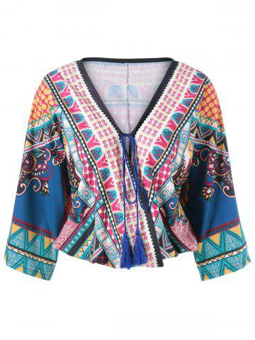 Sale Ethnic Print Wrap Blouse