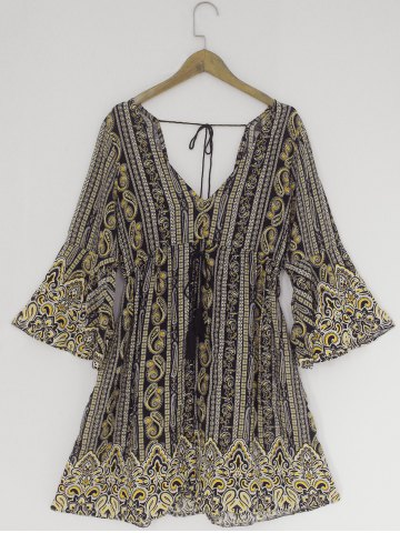 Discount Bohemian Plunging Neck Backless Bell Sleeves Dress