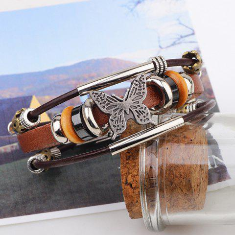 Outfit Butterfly Bead Faux Leather Bracelet - COFFEE  Mobile
