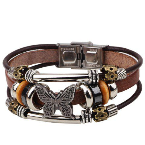 Hot Butterfly Bead Faux Leather Bracelet - COFFEE  Mobile