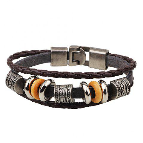 Trendy Faux Leather Bead Braid Bracelet