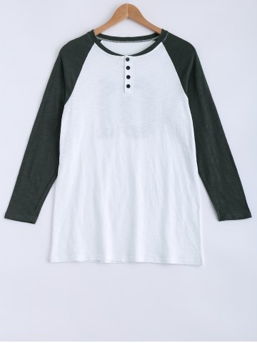 Trendy Raglan Sleeves Buttoned Hit Color T-Shirt