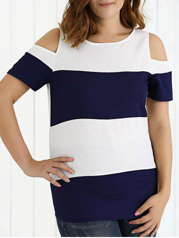 Outfit Cold Shoulder Two-Tone Textured T-Shirt DEEP BLUE 5XL