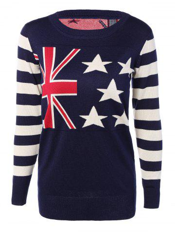 Cheap Striped Sleeves Flag Print Knitted Dress