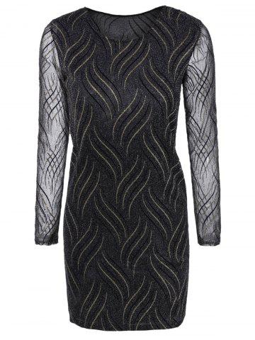 Shop Long Sleeves See-Through Striped Bodycon Dress