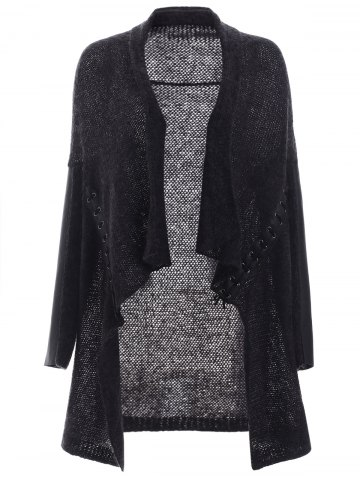 Lace Up Leather Patchwork Ruffled Cardigan - Black Grey - S