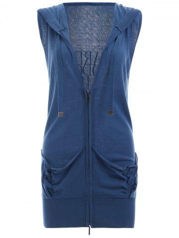 Back Letter Sleeveless Zipped Vest - BLUE L