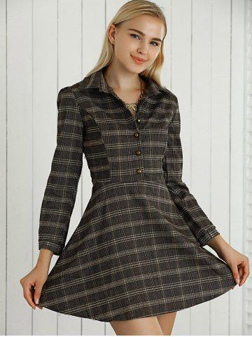 Latest Long Sleeves Checkered Print Buttoned Dress
