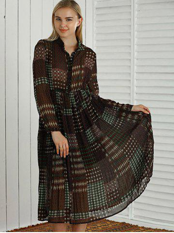 Unique Long Sleeves Printed Pleated Dress